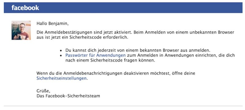 Die Aktivierung wird von Facebook mit einer E-Mail bestätigt (Bild: Screenshot Facebook).