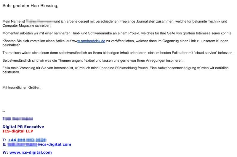 """ICS-Digital bietet eine """"Aufwandsentschädigung"""" für das Veröffentlichen eines Artikels zu Dells Cloud Service (Bild: Screenshot Gmail)."""