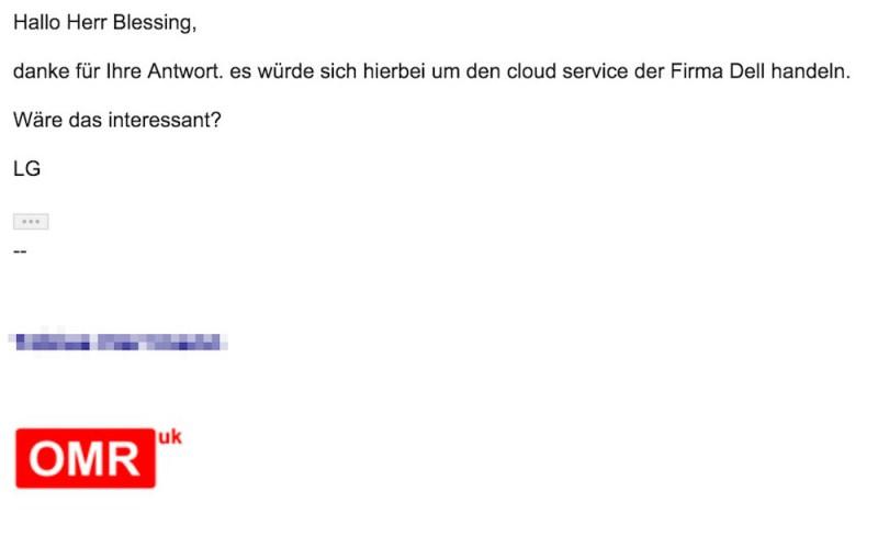 Als Auftraggeber nennt ICS-Digital die Firma Dell (Bild: Screenshot Gmail).