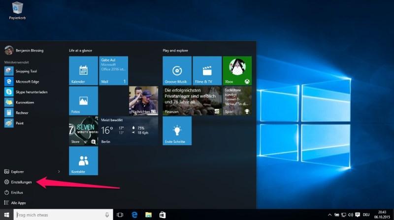 Die Windows Einstellungen lassen sich über das Windows-Menü direkt aufrufen (Bild: Screenshot Windows 10).