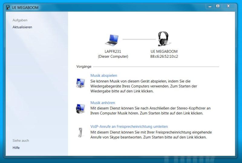 """Der Vorgang """"Musik anhören"""" unter Windows 7 ist für Bluetooth-Lautsprecher zu aktivieren (Bild: Screenshot Windows 7)."""
