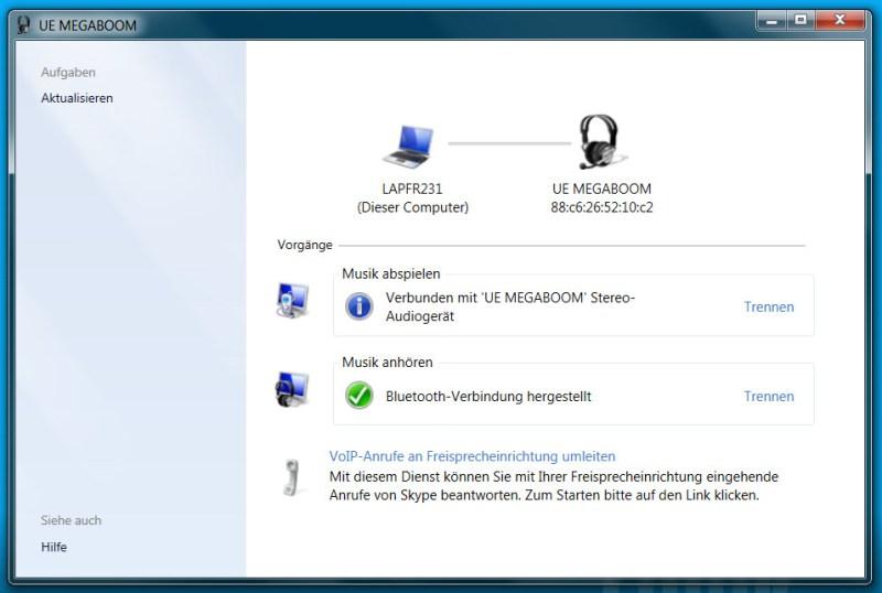 Erst jetzt funktioniert die Wiedergabe von Musik und Sounds unter Windows 7 über Bluetooth-Lautsprecher (Bild: Screenshot Windows 7).