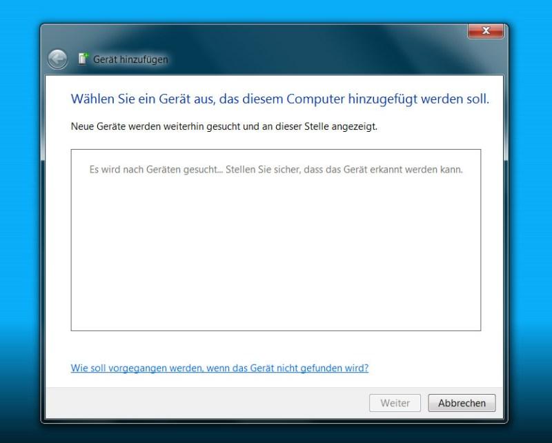 Windows 7 findet Bluetooth-Lautsprecher nur, wenn diese im Paring-Modus sind (Bild: Screenshot Windows 7).