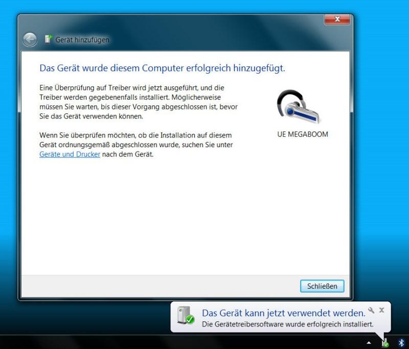 Bluetooth-Lautsprecher laufen unter Windows 7 ohne eine zusätzliche Treiberinstallation (Bild: Screenshot Windows 7).