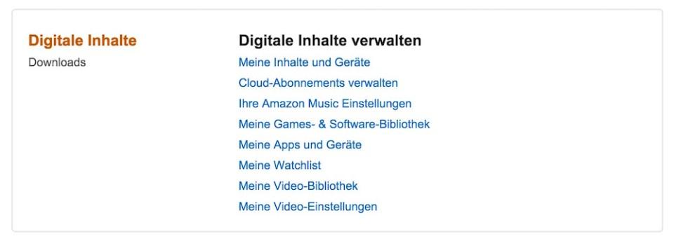 Amazon ermöglicht das verwalten der digitalen Inhalte und Geräte über ein separates Menü (Bild: Screenshot Amazon.de).