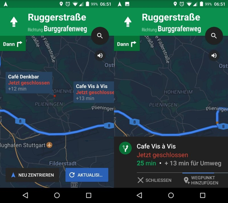 Google Maps mit POI-Suche als Boxenstopp
