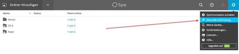 Resilio Sync manuelle Verbindung
