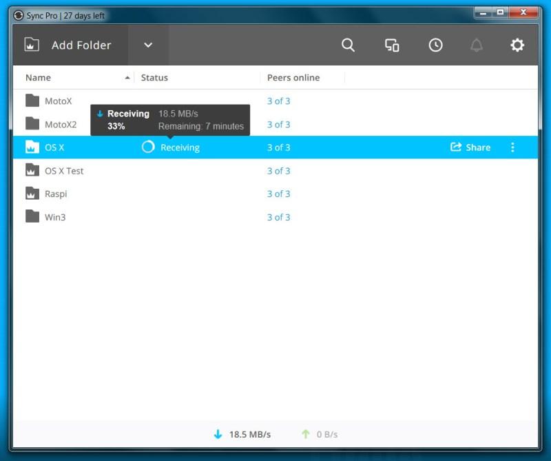 Resilio Sync Übertragungsrate Windows 7