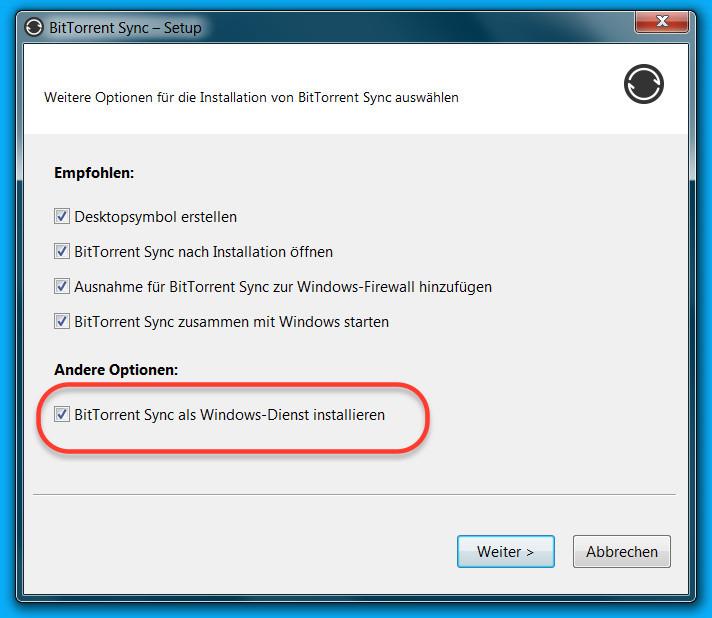 Resilio Sync unter Windows installieren