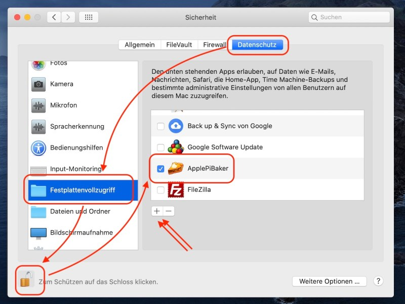 ApplePiBaker Festplattenvollzugriff
