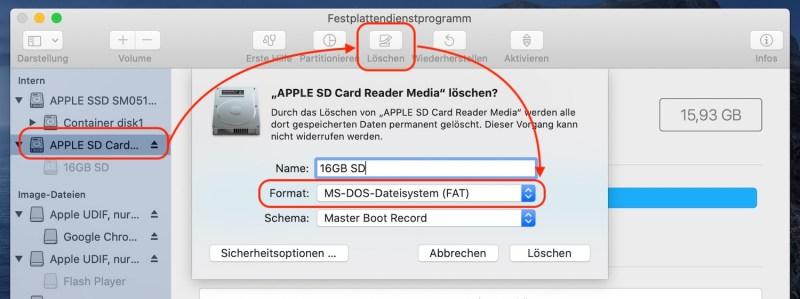 SD-Karte unter macOS für Raspberry Pi formatieren