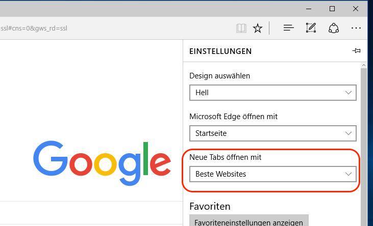 Microsoft Edge Tab mit leerer Seite öffnen