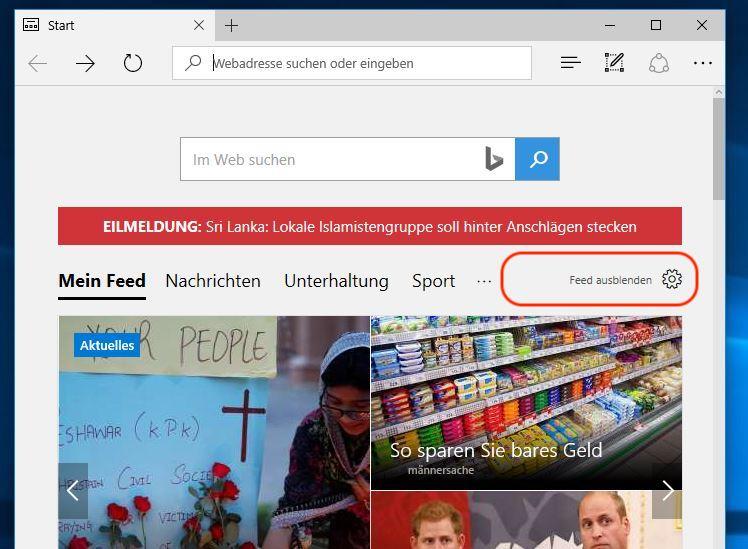 Microsoft Edge Startseite von Nachrichten entfernen