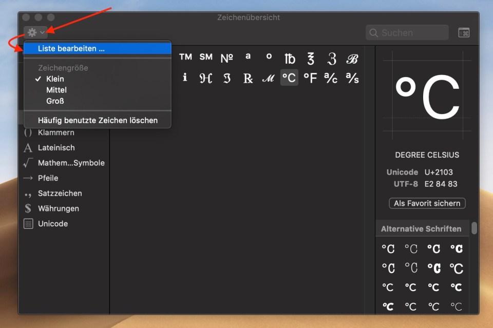 macOS Sonderzeichen und Symbole auf dem Mac verwenden