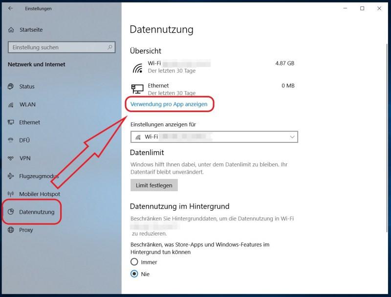 Anzeige der Datennutzung unter Windows 10
