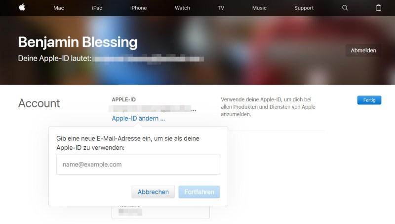 Apple-ID ändern