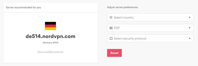 NordVPN Serverauswahl