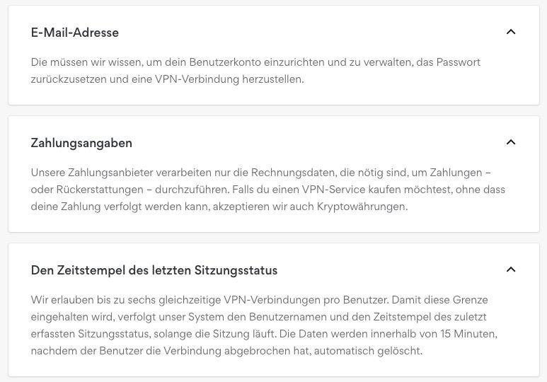 NordVPN gespeicherte Kundendaten