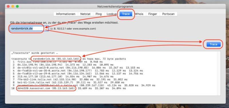 Mac - IP-Adresse einer Webseite unter macOS ermitteln