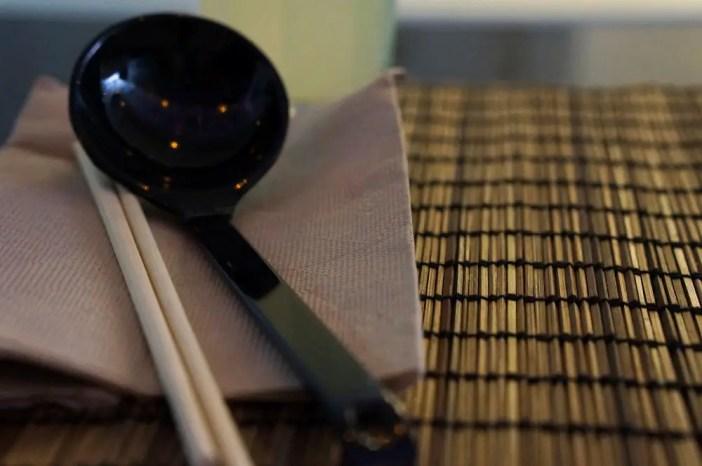 Chopsticks and scoop