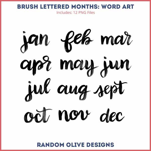 Brush Lettered Word Art - www.randomolive.com