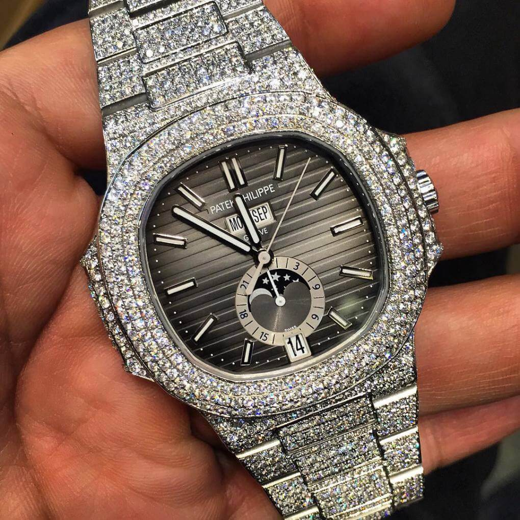 """Iced-out"" Patek Philippe Nautilus"