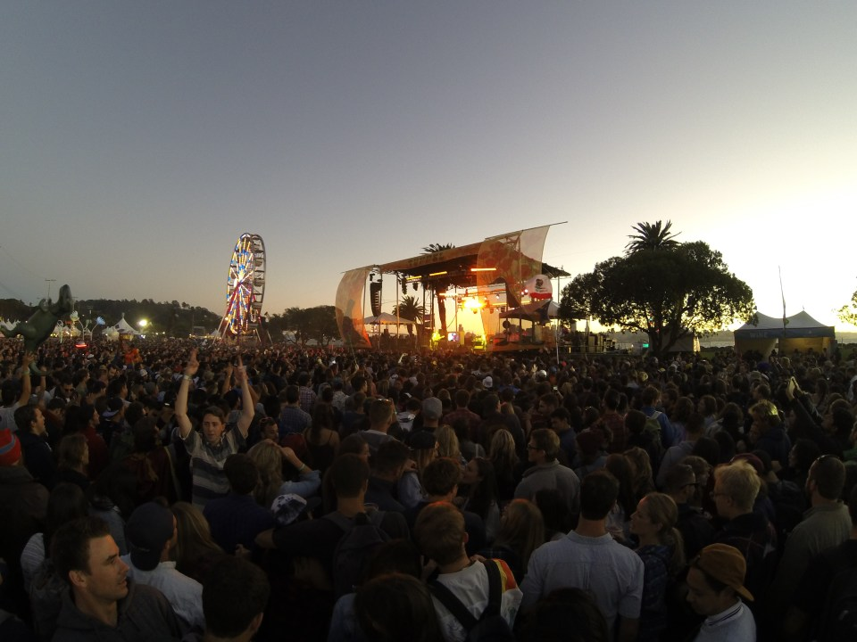 The sun setting during Classixx's performance at Treasure Island Music Festival 2014