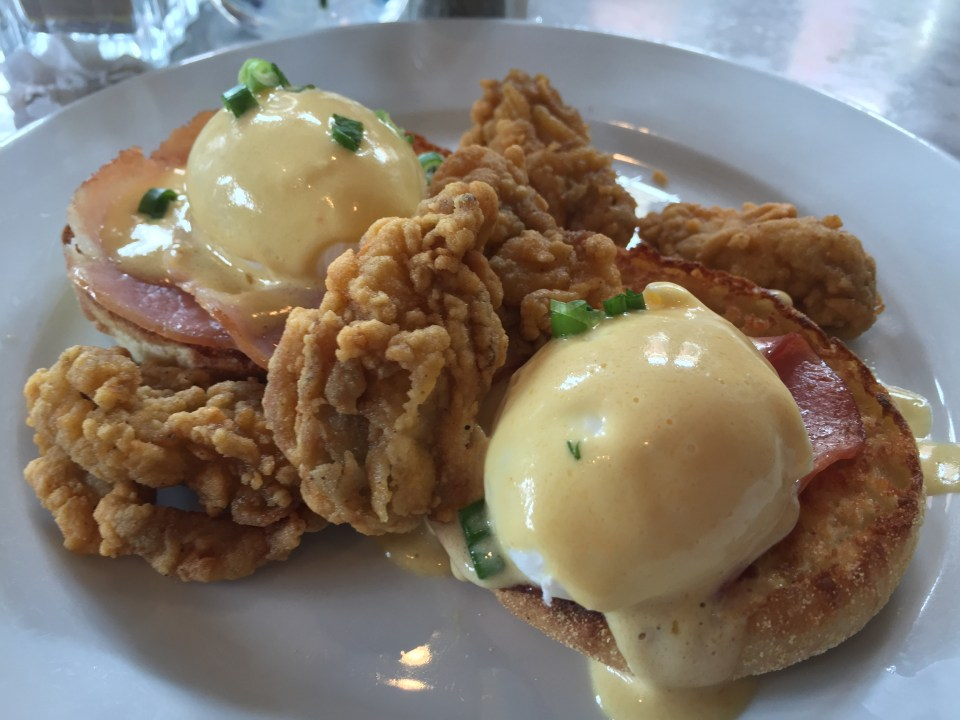 Eggs Benedict with fried oysters at Stanley