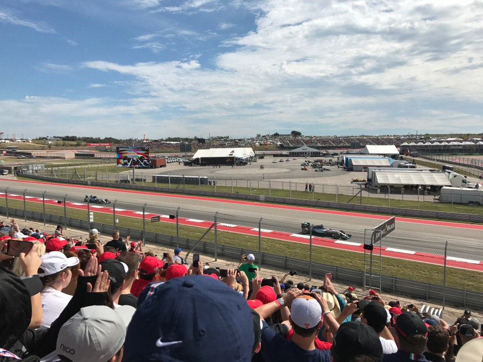 Team Mercedes speeding down the straightaway