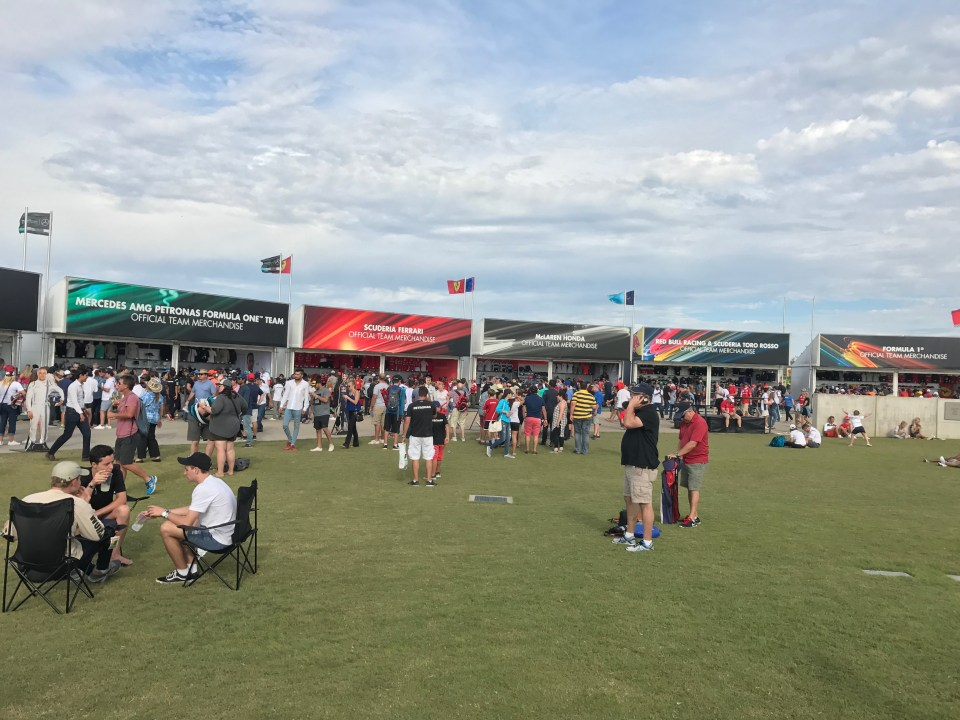 The team merchandise booths and crowds