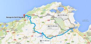 Circuits randonnée barrage el barrak - route_Tunis-Sidi_el_Barrak