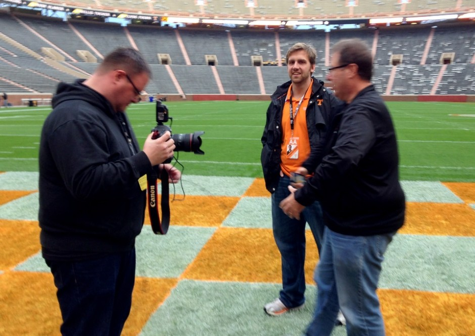 Brad Moore, Donald Page, & Scott Kelby. EARLY am Neyland Stadium.