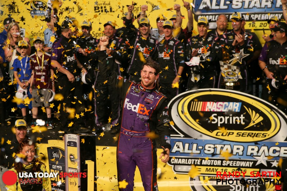 May 16, 2015; Concord, NC, USA; NASCAR Sprint Cup Series driver Denny Hamlin (11) after winning the Sprint All-Star Race at Charlotte Motor Speedway. Mandatory Credit: Randy Sartin-USA TODAY Sports