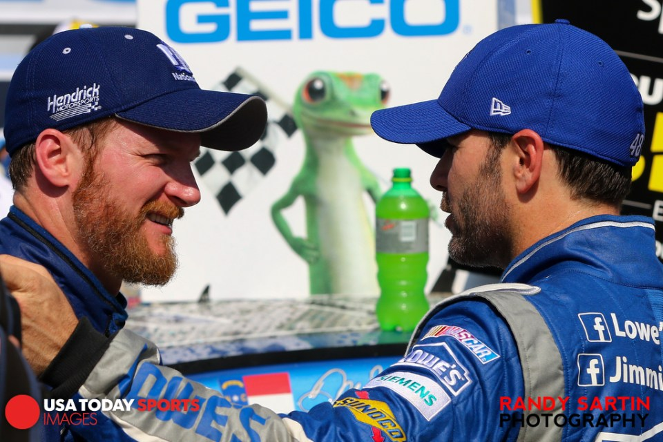 May 3, 2015; Talladega, AL, USA; NASCAR Sprint Cup Series driver Dale Earnhardt Jr. (88) and driver Jimmie Johnson (48) after winning the Geico 500 at Talladega Superspeedway. Mandatory Credit: Randy Sartin-USA TODAY Sports