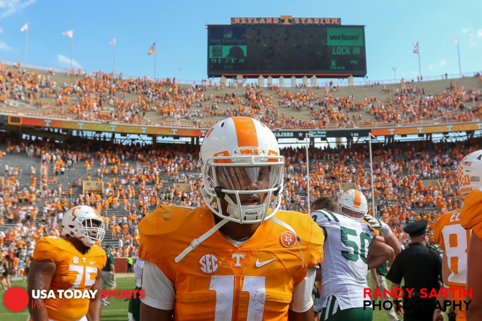 Sep 17, 2016; Knoxville, TN, USA; Tennessee Volunteers quarterback Joshua Dobbs (11) after the game against the Ohio Bobcats at Neyland Stadium. Tennessee won 28 to 19. Mandatory Credit: Randy Sartin-USA TODAY Sports