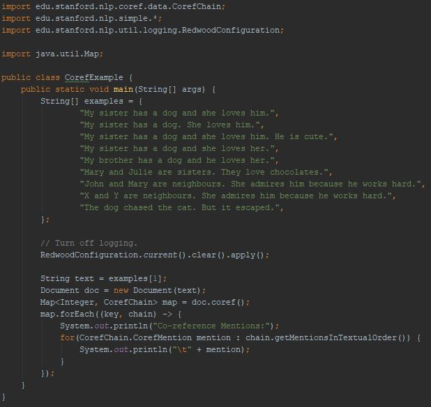CoreNLP Corereference Example