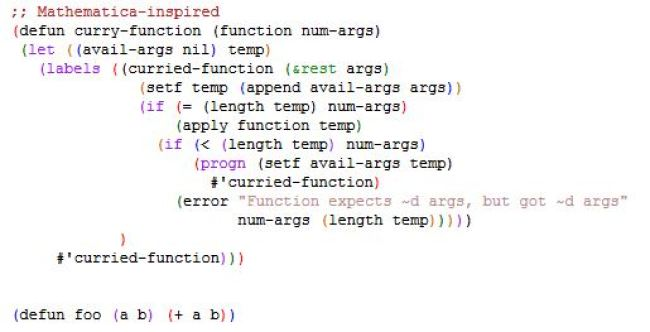 Currying in Lisp
