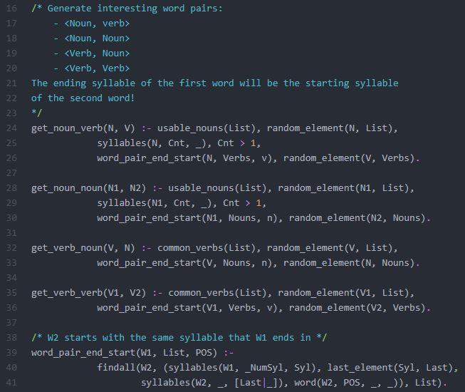 Prolog Predicates for Word Pair Generation