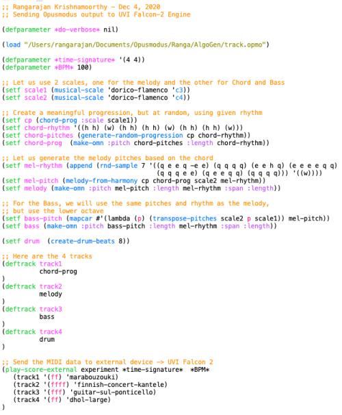 Sample Code in Opusmodus