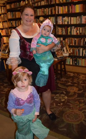 The family costume prize winners - if there had been a contest! Mermaids Sarah and Aubrey with pirate mom Lindsey!