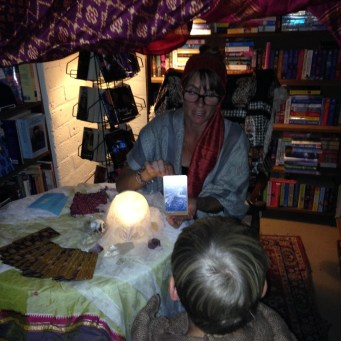 Gypsy Erin telling fairy fortunes.