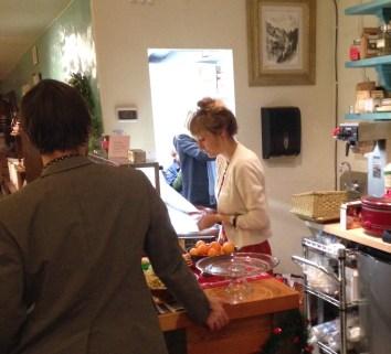Hannah Burgoyne preparing some reception treats.