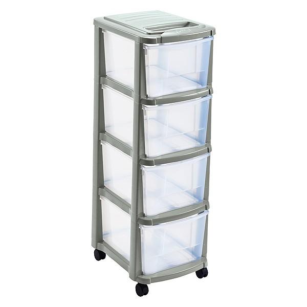 tour de rangement plastique 4 tiroirs avec roulettes sable