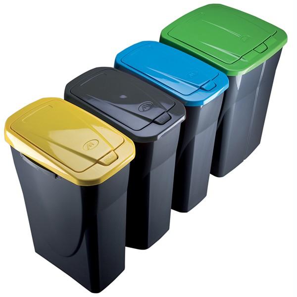 poubelle de tri selectif cuisine 25 litres couvercle jaune