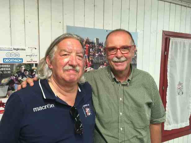 Da sinistra, il Presidente dell'Amatori Antonio Segalla ed il Presidente del Rugby Vicenza Augusto Fantelli.