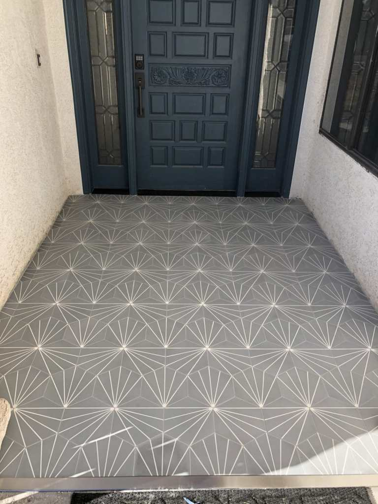 riad tile, gray tile, patterned tile, patterned concrete tile, teal front door