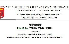 Seleksi Terbuka Jabatan Tinggi Di Lingkungan Pemerintah Kabupaten Lampung Barat