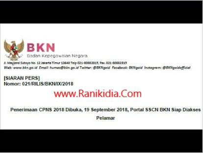 Downloud Siaran Pers Resmi Penerimaan CPNS 19 September 2018; BKN