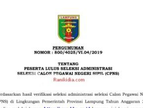 Rekapan Daftar Nama Lulus Seleksi Administrasi CPNS 2019 KAB/Kota Se-Provinsi Lampung