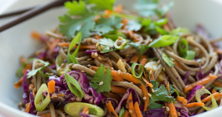 Asian noodle salad with soy sesame dressing
